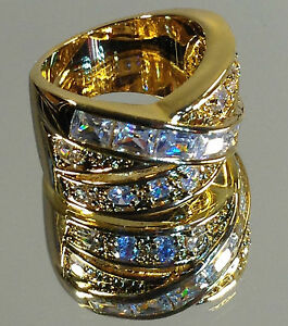 "Beautiful ""Crossover"" Ladies Gold Ring, Swarovski & Cubic Zirconia stones, NEW"