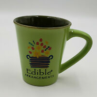 Edible Arrangements Green Collectable Coffee Mug Cup Yellow Red Flowers 16 Oz