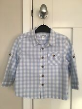 Smart blue checked cotton shirt top toddler baby boys 12-18m party christmas