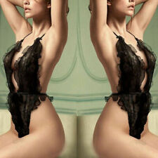 Glamour Black Sexy Sheer Ruffles Lace Backless Teddy Sleepwear Lingerie M