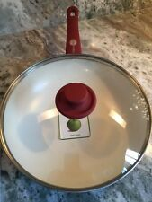 """New GreenPan And Cover 11"""" Skillet Frying/Wok Pan Burgundy Red  New"""