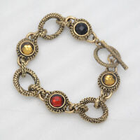 "7"" lia sophia signed vintage gold tone lobster bangle unique bracelet for women"