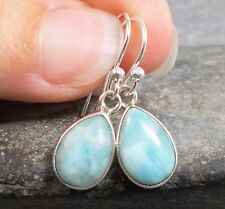 925 Silver Genuine BLUE LARIMAR Earrings E722~Silverwave*uk Jewellery
