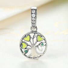 S925 Sterling Silver CZ Beads Tree of Life Dangle Charm Pendant fit Bracelet