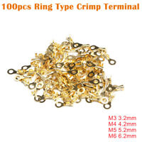 100 pcs M3-M6 Capicorda ad occhiello 3.2- 6.2 mm Terminale a crimpare ad anello