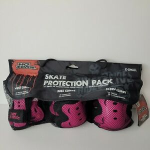 No Fear Skate Protection Pack - Wrist Guards, Knee Guards, Elbow Guards. Pink XS