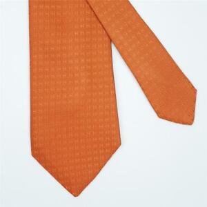HERMES TIE Faconnee H in Dark Orange Classic Twill Silk Necktie