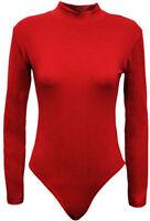 New Women Ladies LONG SLEEVE Turtle POLO NECK BODYSUIT Leotard Top T-Shirt 8-14