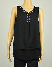 INC International Concepts Womens Black Lace-Up Double-Layer Blouse Top 14