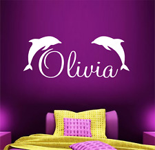 WALL ART STICKER PERSONALISED GIRLS NAME VINYL BEDROOM QUOTE DOLPHIN CUTE ANIMAL