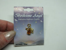 Beautiful Brooch Gold Tone Angel Cross Austrian Crystal November Topaz Org Card