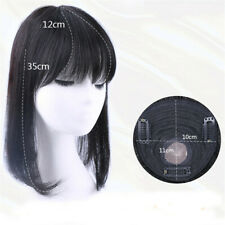 100% Real Human Hair Topper Toupee Clip Hairpiece Bangs Bob Top Toper Cover Grey