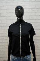 BIKKEMBERGS Donna Camicia Camicetta Taglia XS Maglia T-Shirt Nero Elastica Woman