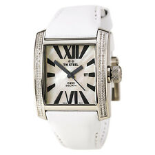 TW Steel Unisex CE3015 CEO Goliath 144 Diamond & White-Gold Plated White Leather