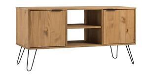 Industrial Wooden TV Media Plasma Unit Cabinet Stand Doors Shelves 115cm