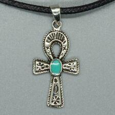 Ankh Pendant .925 Silver Egyptian Egypt Gothic Biker Turquoise life symbol