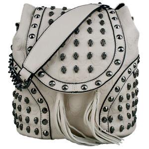 Retro Shoulder Bag PU Leather Skull Embossed Studded Goth Backpack Tote Handbag