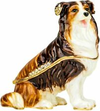 Ciel Collectible Dog Doggy Swarovski Jeweled Trinket Jewelry Box Casket.