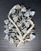 Vintage Signed Classic Coro Two Tone Blue Rhinestones Flower  Floral Brooch Pin
