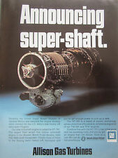 11/1973 PUB ALLISON GAS TURBINES GM DETROIT DIESEL XT-701 TURBOSHAFT ORIGINAL AD