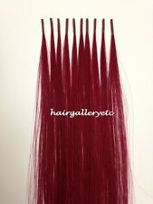 "12"" I tip Fusion 100% Human Hair Extension 10 + FREE Micro Hair Beads Rings USA"