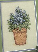 Bluebonnets Flowerpot Favorite Cross Stitch Pattern Chart from magazine Flowers