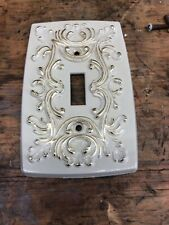French Provincial Single Switch Plate Cover, White/Gold, Hall Mack, Metal