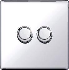 Screwless Dimmer Switch 2 Gang 2 Way 250W Push On Off Flat Plate Polish Chrome
