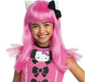 Hello Kitty Pink Long Wig Anime Pop Star Fancy Dress Up Halloween Child Costume