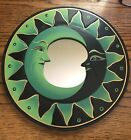 """MIRROR BALI DOUBLE CRESCENT MOON 12"""" Hand Carved & Painted NEW Green"""