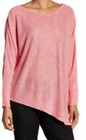 Eileen Fisher Women Linen Sweater Pullover Oversized Asymmetrical Melange Pink M