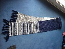 H&M Schal Logg, Wolle, Norweger,220 cm lang,25 cm breit,blau,weiss - ungetragen