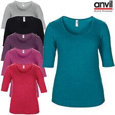 Anvil Womens Tri Blend Scoop Neck 3/4 Sleeve T-Shirt Plain Ladies Casual Top New