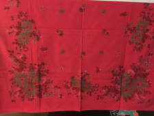 """Vintage Christmas Tablecloth Ponsettias Ornaments 46"""" x 60"""" Gently Used"""