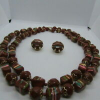 Vintage Beaded HONG Kong Necklace Matching Earrings Set Painted 2 Single Strand