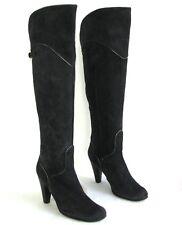 KATE - Bottes genoux talons 9.5 cm cuir velours gris carbone 39 - TRES BON ETAT