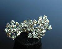 Silver tone flower cluster clear rhinestones Art Deco delicate   BROOCH