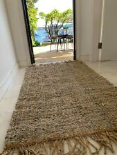 Heavy Leather and jute woven rug
