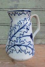Très ancien pichet en céramique décor chardons - faience Wasmuel barbotine