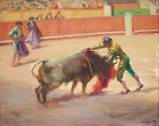 "VICTOR MOYA Y CALVO Signed 1937 Original Oil Painting - ""Bullfight"""