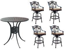 Patio bar set with Palm tree swivel chairs 5pc cast aluminum Nassau furniture