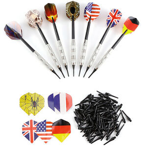 7x Darts Arrows Set Flight Iron Shafts with 100pcs Soft Tips and 14 Flights