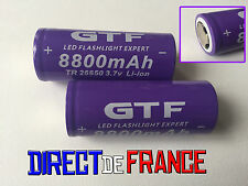 2 PILES ACCUS RECHARGEABLE BATTERIE GTF 26650 8800mAh 3.7V Li-ion PUISSANT