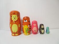 Jollylife Shenzhen 5Pc Cute Wooden Animal Nesting Dolls Paint Gift, New!
