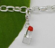 SILVER & RED LIPSTICK CLIP ON CHARM FOR BRACELETS -NEW