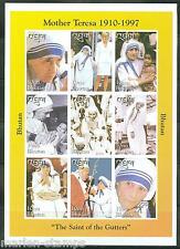 BHUTAN MOTHER TERESA   PRINCESS DIANA SC#1192 SHEET OF NINE IMPERFORATED MINT NH