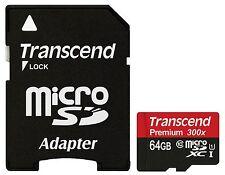 TRANSCEND MICRO SDXC 45MB 64GB UHS-I U1 CLASS 10 300X PREMIUM 64G 64 G GB SD NEW