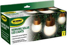 3 Hanging Solar LED Lights Pathway Garden Yard Deck Automatic Markers Ideaworks