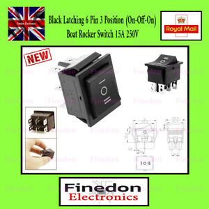Black Latching 6 Pin 3 Position (On-Off-On) Boat Rocker Switch 250VAC 15A