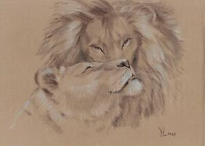 original drawing A3 202YL art by samovar Pastel modern animal lions Signed 2021